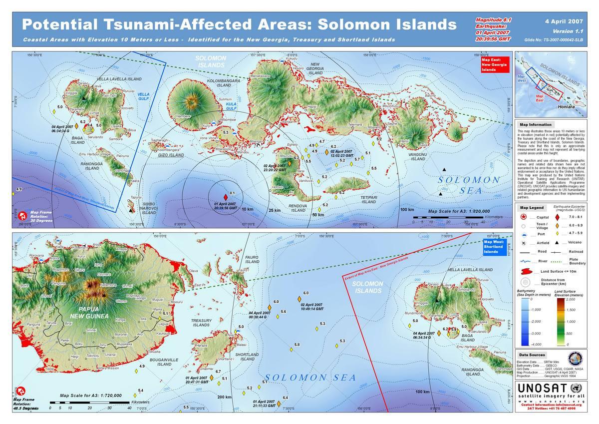 Earthquake Tsunami In The Solomon Islands Charter Activations - Solomon islands map